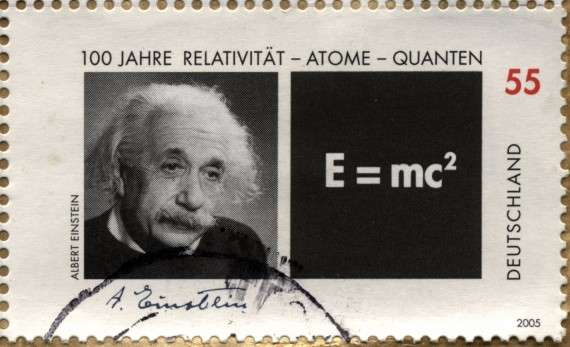 Γραμματόσημο με τον Άλμπερτ Αϊνστάιν (γερμ.: Albert Einstein, Ουλμ 14 Μαρτίου 1879 - Πρίνστον 18 Απριλίου 1955)