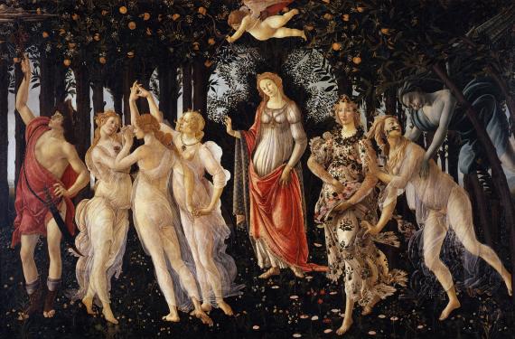 Σάντρο Μποττιτσέλλι, Αλληγορία της Άνοιξης (περ. 1482). Στο κέντρο της σύνθεσης δεσπόζει η μορφή της Αφροδίτης, ενώ πάνω από το κεφάλι της, ο Έρωτας ρίχνει τα βέλη του με τα μάτια δεμένα. Στο αριστερό τμήμα του πίνακα διακρίνονται οι τρεις Χάριτες και ο Ερμής. Στο δεξί άκρο, ο Ζέφυρος κυνηγά τη νύμφη Χλωρίδα, δίπλα από την οποία βρίσκεται η θεά των λουλουδιών Φλώρα
