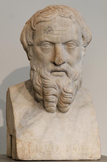 Ο Ηρόδοτος (485 - 421/415 π.Χ.) ήταν αρχαίος Έλληνας περιηγητής, γεωγράφος και ιστορικός του 5ου αιώνα π.Χ.. Έγραψε για τους Περσικούς Πολέμους (ανάμεσα στους Έλληνες και τους Πέρσες) καθώς και περιγραφές για διάφορα μέρη και πρόσωπα που συνάντησε στα ταξίδια του.