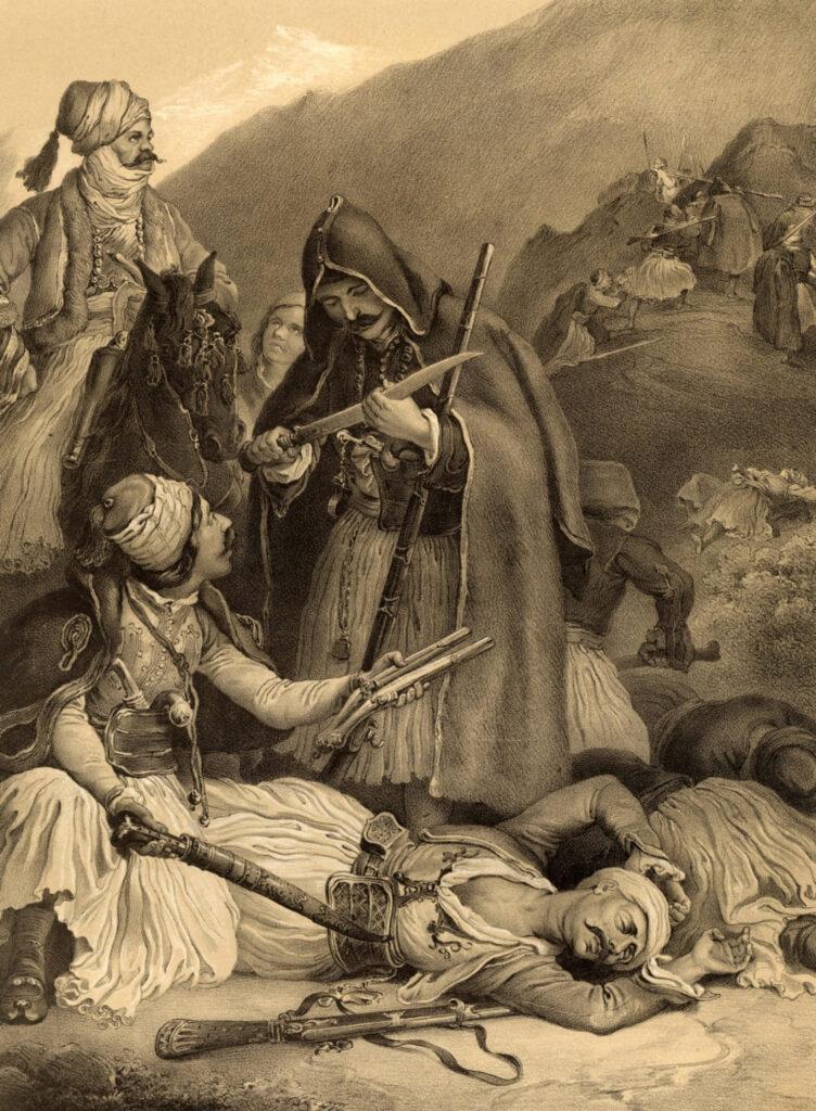Στις 23 Νοεμβρίου του 1826, οι Έλληνες υπό τον Γ. Καραϊσκάκη συντρίβουν τους αντιπάλους τους μετά από πολυήμερη μάχη στην Αράχωβα. Στη φωτογραφία: Ο Καραϊσκάκης συγκεντρώνει λάφυρα μετά τη μάχη της Αράχωβας. Λιθογραφία του Peter von Hess. Συλλογή Χαρακτικών ΕΙΜ.