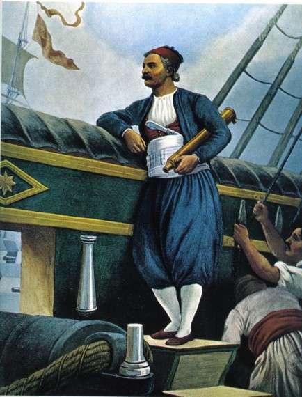 """Ο Ανδρέας Μιαούλης στο πλοίο """"Κως"""" Peter von Hess, 1824"""
