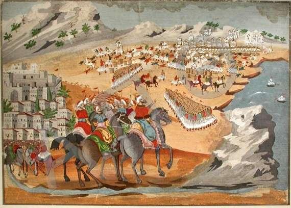 Η μάχη του Κομποτίου. Πίνακας του Παναγιώτη Ζωγράφου