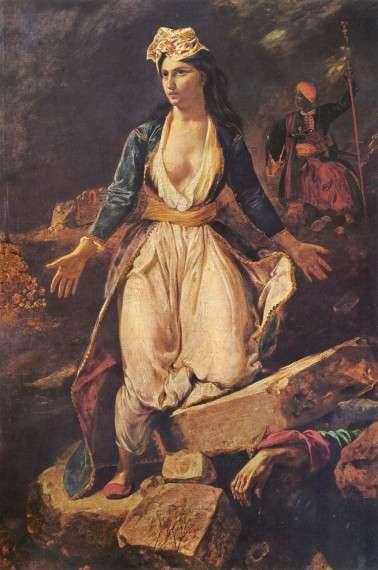 """Greece on the ruins of Missolonghi"" by Eugène Delacroix."