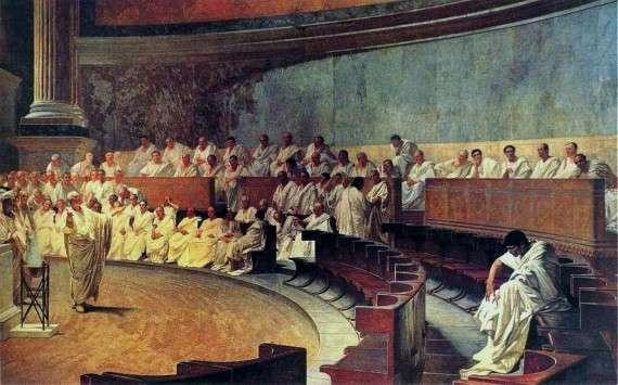 Cicero Denounces Catiline, fresco by Cesare Maccari, 1882–88