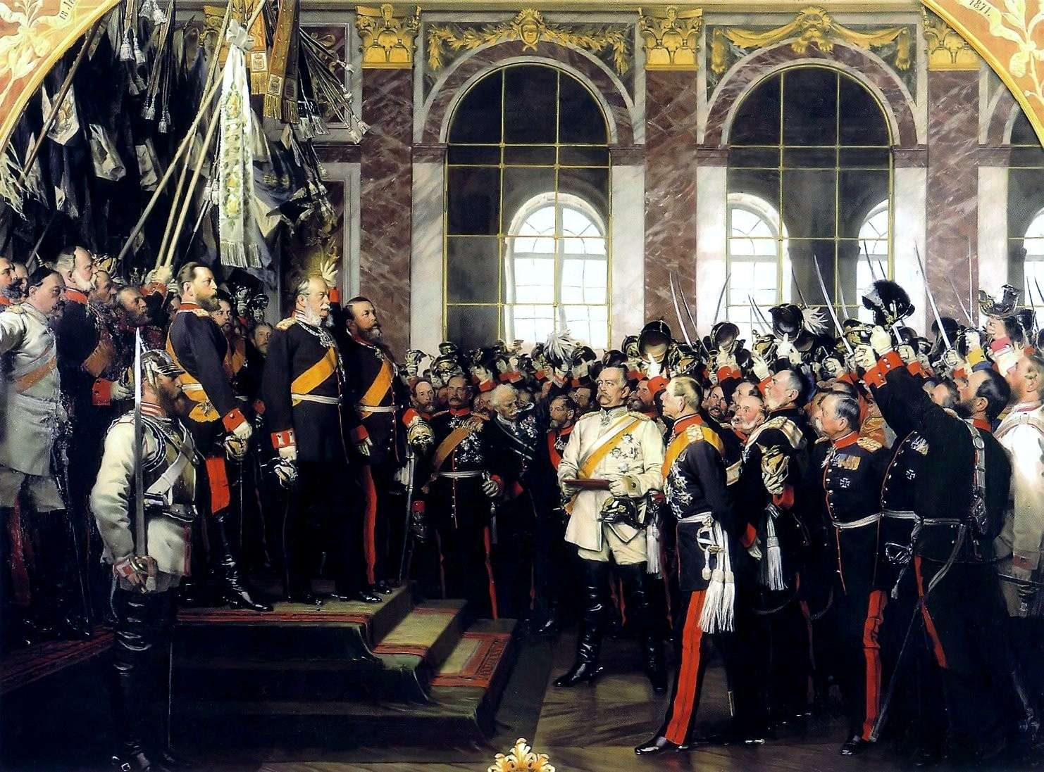 Foundation of the German Empire in Versailles, 1871. Bismarck is at the centre in a white uniform
