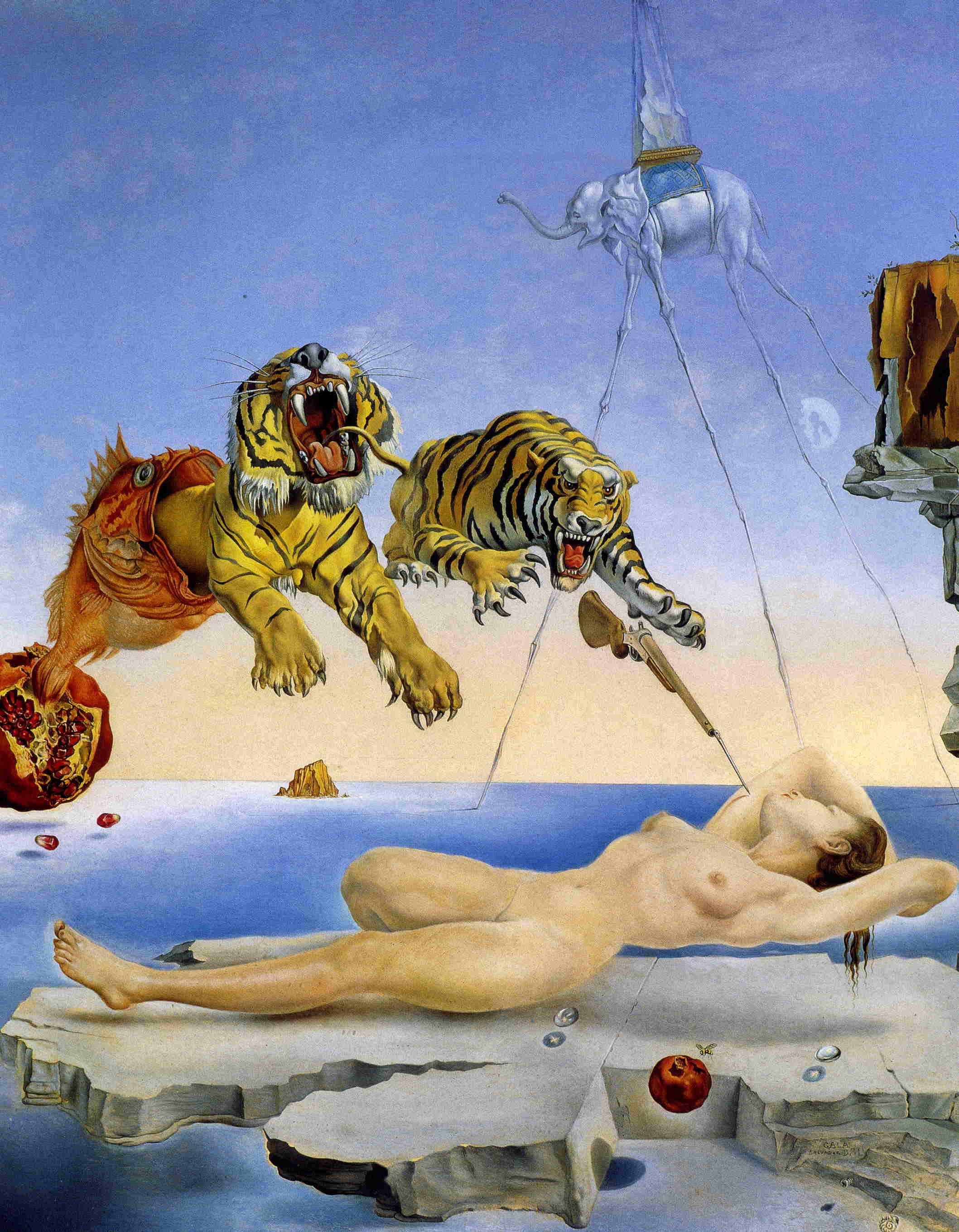 Τίγρεις και γυναίκα σε πίνακα του Σαλβαντόρ Νταλί
