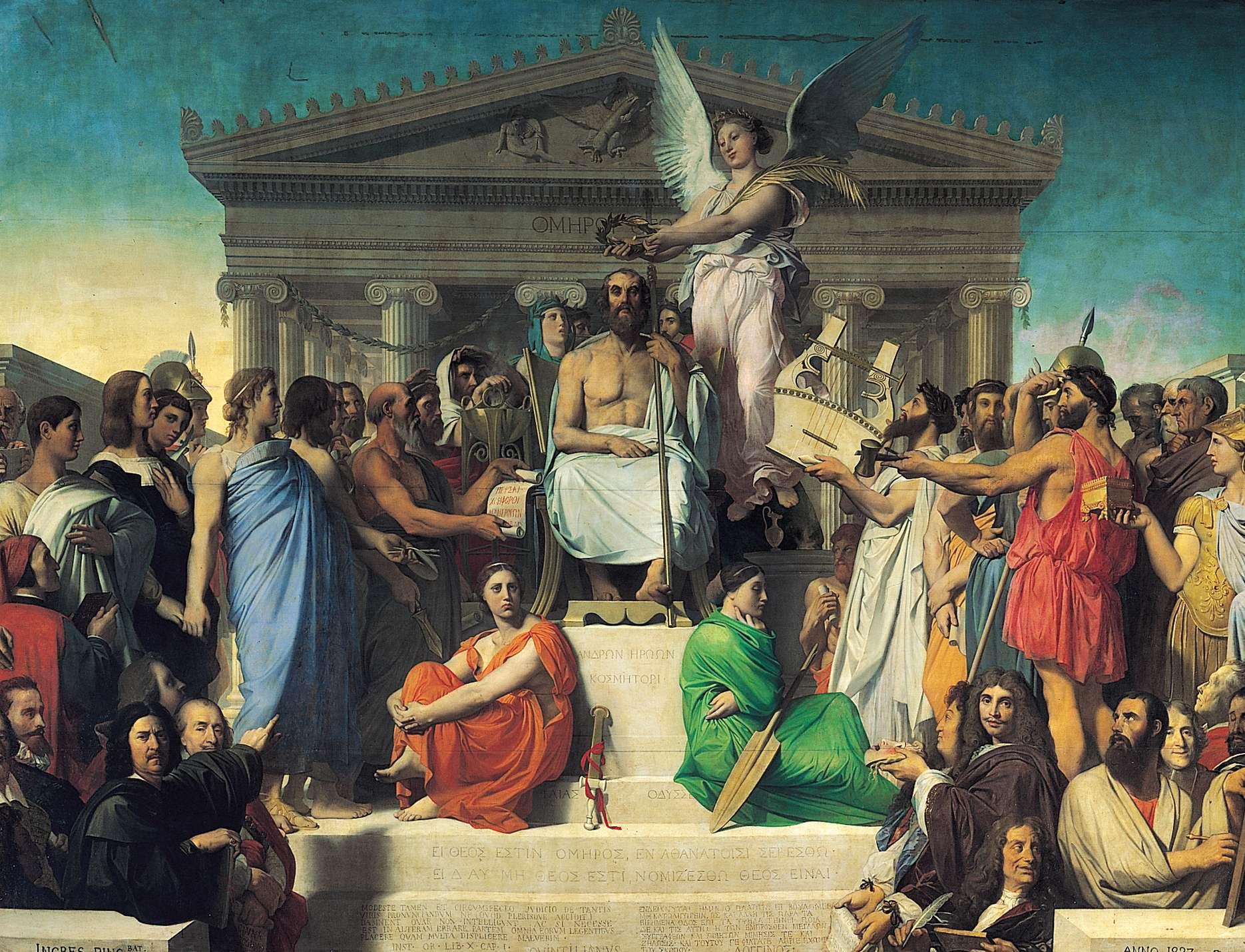 Η αποθέωση του Ομήρου. Στα πόδια του η Ιλιάδα και η Οδύσσεια. Jean Auguste Dominique Ingres, 1827