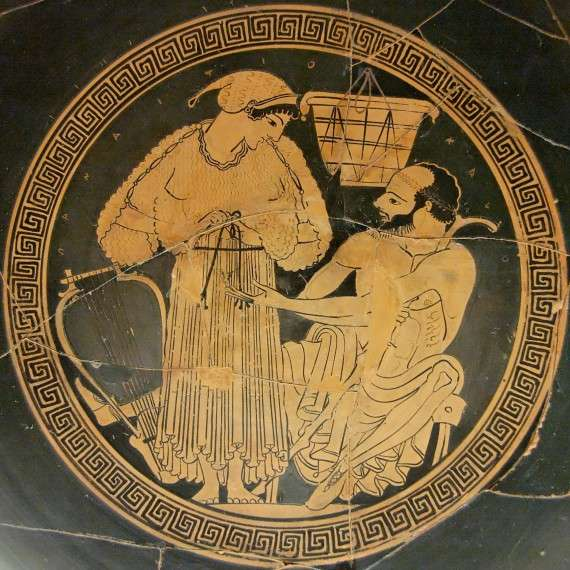 Συμπόσιο, αττικό ερυθρόμορφο κύπελλο, 490 π.Χ., Βρετανικό Μουσείο