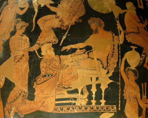 Chryses pleading with Agamemnon for his daughter (360–350 BC)