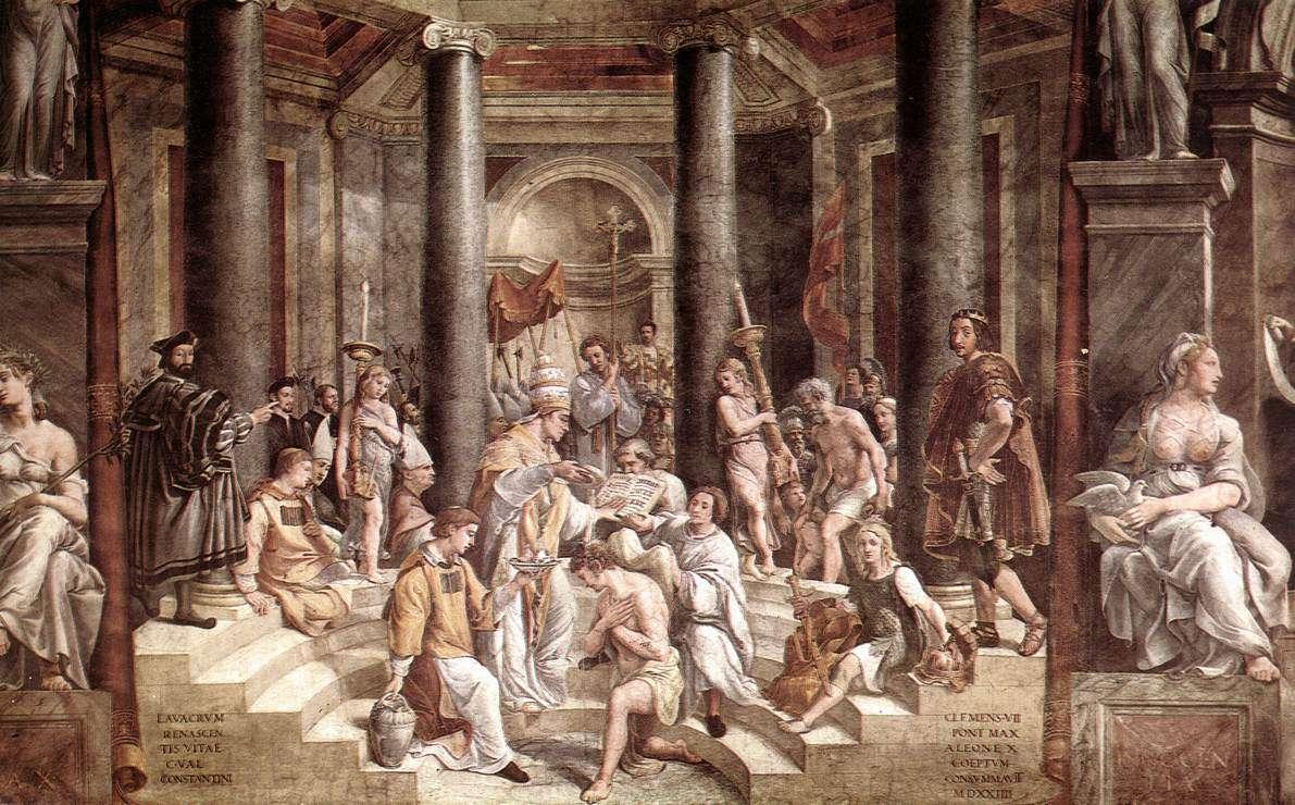 Η βάπτιση του αυτοκράτορα Κωνσταντίνου, όπως τη φαντάστηκαν οι μαθητές του Ραφαήλ