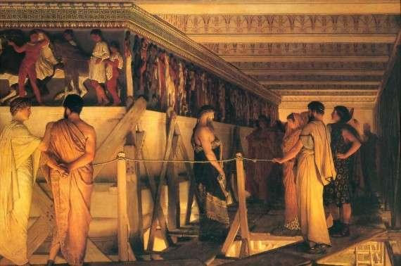 Ο Φειδίας επιδεικνύει τα έργα στον Παρθενώνα στους φίλους του, έργο του Λώρενς Άλμα-Ταντέμα, λάδι σε καμβά, 1868