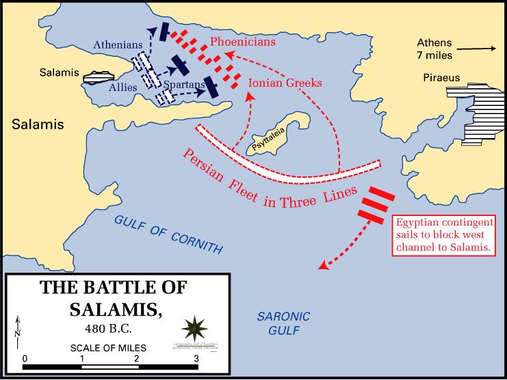 Διάγραμμα των κινήσεων στη Ναυμαχία της Σαλαμίνας