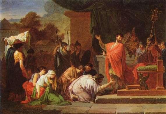 Ο βασιλιάς Περσέας παραδίδεται στον Αιμίλιο Παύλο. Πίνακας του Jean-François-Pierre Peyron, Βουδαπέστη.