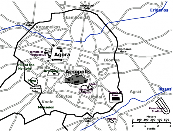 Χάρτης της αρχαίας Αθήνας με την Ακρόπολη στη μέση, την Αγορά στα βορειοδυτικά και τα τείχη της πόλης