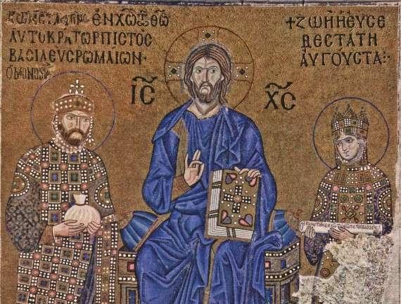 Μωσαϊκό από την Αγία Σοφία με τον Κωνσταντίνο Θ΄ και την Αυτοκράτειρα Ζωή