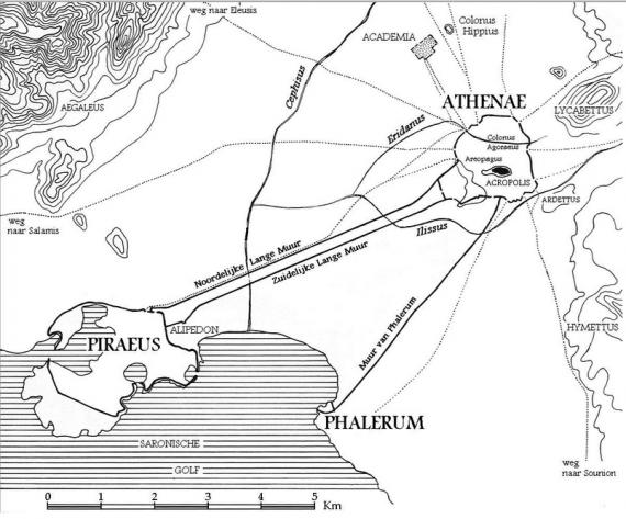 Χάρτης των περιχώρων της Αθήνας. Διακρίνονται ο Πειραιά, το Φάληρο, και τα Μακρά Τείχη.