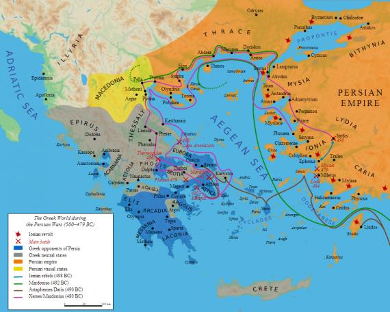 Χάρτης των κύριων γεγονότων της πρώτης περσικής εισβολής στην Ελλάδα