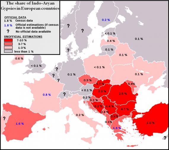 Πληθυσμιακές εκτιμήσεις των Ρομά στην Ευρώπη.
