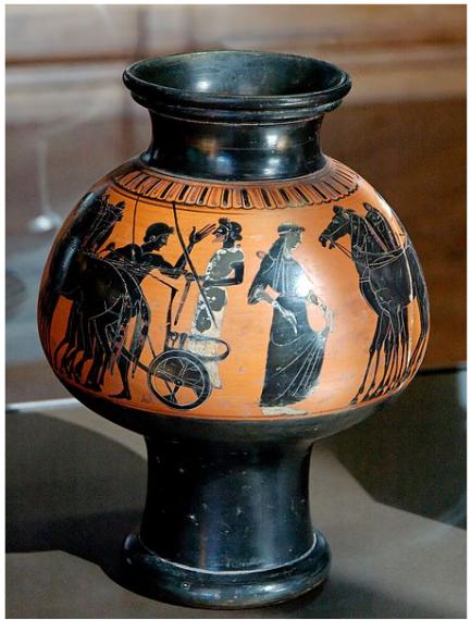 Αττικός μελανόμορφος ψυκτήρας που απεικονίζει την αναχώρηση του πολεμιστή, περ. 525-500 Π.Κ.Ε. Λούβρο, αρ. εκθέματος F 319.