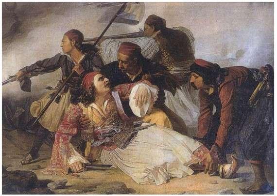 Ο θάνατος του Μάρκου Μπότσαρη. Πίνακας από τον Ludovico Lipparini, που βρίσκεται στο μουσείο της Τεργέστης στην Ιταλία