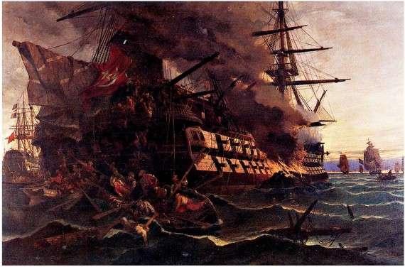 Η πυρπόληση της οθωμανικής φρεγάτας στην Ερεσό από τον Δημήτριο Παπανικολή.