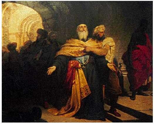 «Ο Πατριάρχης Γρηγορίος Ε΄ συρόμενος στην αγχόνη», Λεπτομέρεια από τον πίνακα του Νικηφόρου Λύτρα