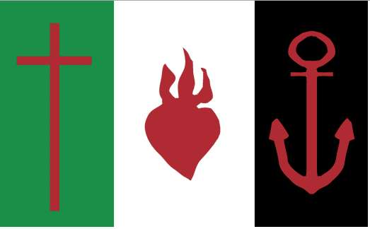 The flag of the Areopagus of Eastern Continental Greece with symbols of faith, charity (love), and hope.