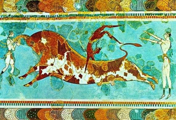 Ταυροκαθάψια, τοιχογραφία με ακροβατική επίδειξη