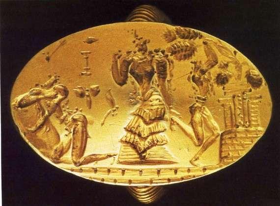 Χρυσό δαχτυλίδι από τους Αρχάνες, κοντά στην Κνωσό