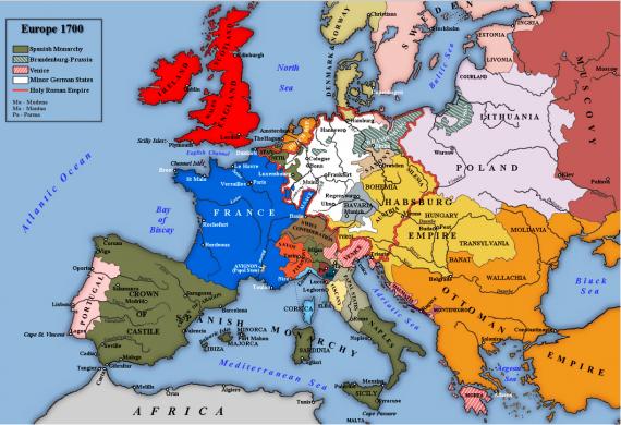 Χάρτης της Ευρώπη το 1700