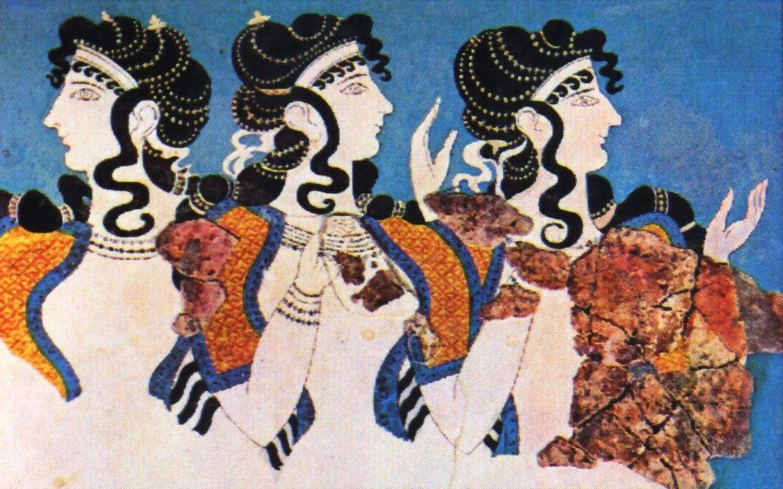 Τοιχογραφία με γυναίκες στο ανάκτορο της Κνωσσού