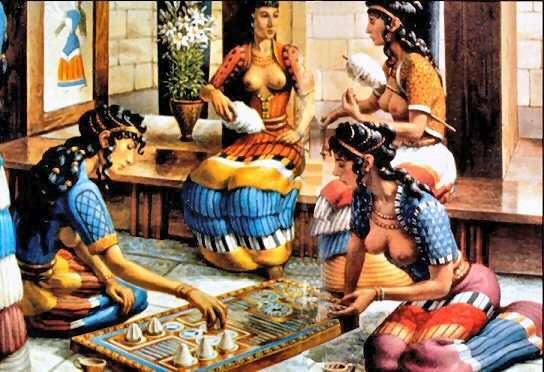 Φανταστική αναπαράσταση γυναικών σε ανακτορικό παλάτι