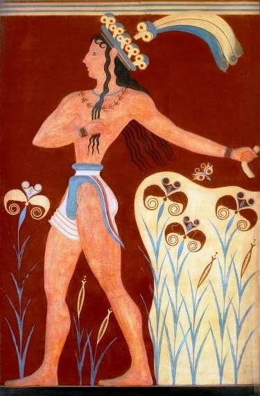 Ο πρίγκιπας με τα κρίνα, τοιχογραφία σε μινωικό παλάτι