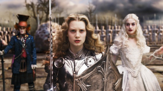 Johnny Depp, Mia Wasikowska and Anne Hathaway in Alice in Wonderland directed by Tim Burton, 2010