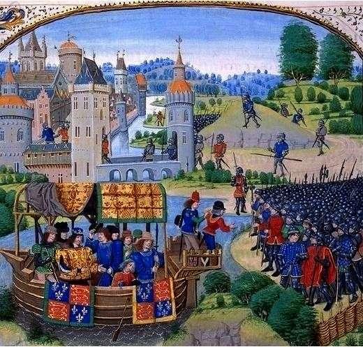 13 Ιουνίου 1381: ο Ριχάρδος ΙΙ συναντά εξεγερμένους χωρικούς. Μινιατούρα του 1470 από τα Χρονικά του JeanFroissart.