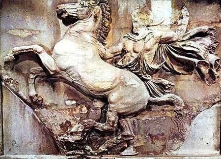 Αφηνιασμένο άλογο στην Πομπή των Ιππέων, δυτική πλευρά ζωφόρου Παρθενώνα.