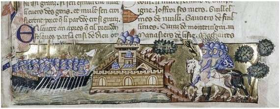 The Crusader attack on Constantinople, from a Venetian manuscript of Geoffreoy de Villehardouin's history, ca. 1330
