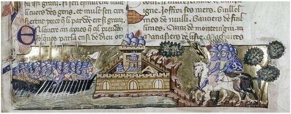 The Crusader attack on Constantinople, from a Venetian manuscript of Geoffreoy de Villehardouin's history, ca. 1330