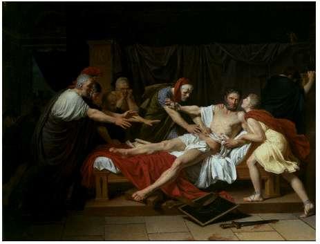 Ο θάνατος του Κάτωνα τού Νεότερου. Έργο τού Λουί-Αντρέ-Γκαμπριέλ Λουσέ (1797)