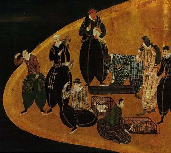 Πορτογάλοι έμποροι στην Ιαπωνία. Λεπτομέρεια από πίνακα που αποδίδεται στον KanoNaizen, 1570-1616.