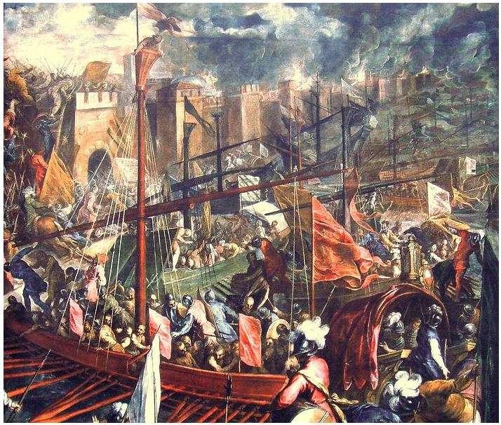 Η Άλωση της Κωνσταντινούπολης υπήρξε το αποτέλεσμα της πολιορκίας της βυζαντινής πρωτεύουσας, της οποίας Αυτοκράτορες ήταν ο Αλέξιος Δ' ο Αλέξιος Ε' Μούρτζουφλος και ο Θεόδωρος Α' από την Δ' Σταυροφορία, με επικεφαλής τον Ερρίκο Δάνδολο, τον Βονιφάτιο τον Μομφερατικό και τον Βαλδουίνο Α'. Η σταυροφορία διήρκεσε μέχρι το 1204 , όταν τελικά η Κωνσταντινούπολη αλώθηκε.