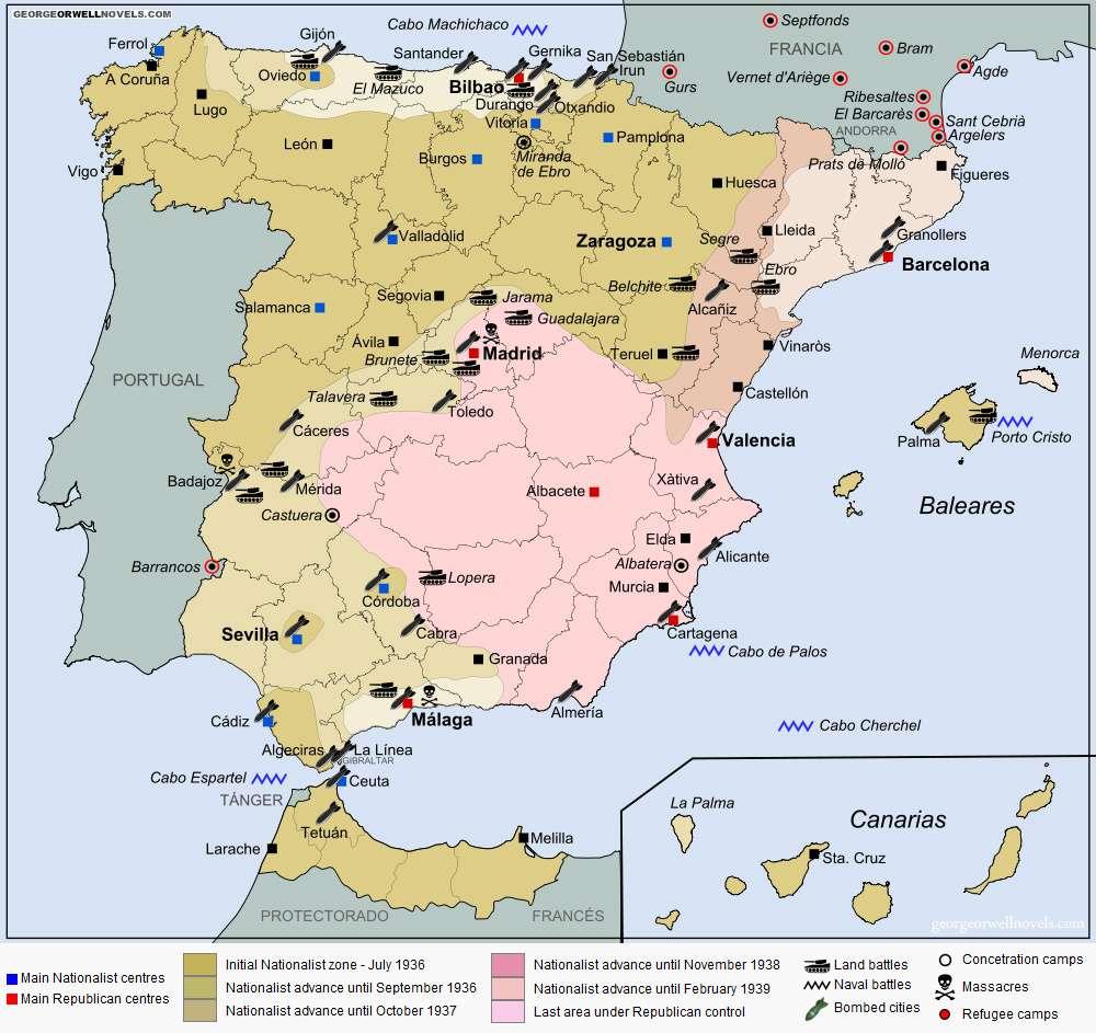 Χάρτης των μαχών του Ισπανικού εμφυλίου