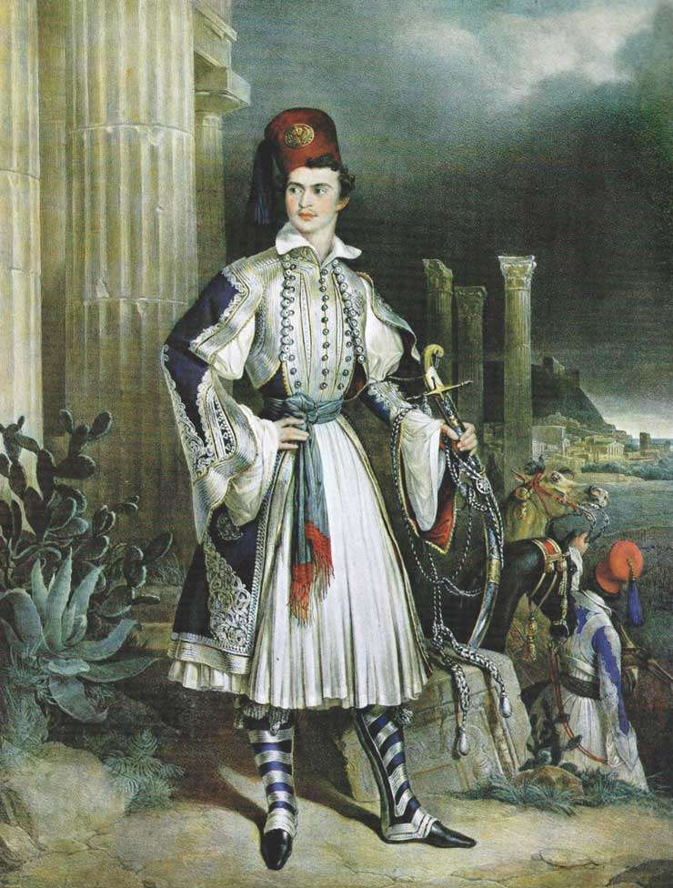 ια ρομαντική απεικόνιση του Όθωνα με φουστανέλλα, μπροστά από αρχαία ελληνικά ερείπια. Gottlieb Bodmer.