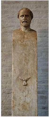 Μία από τις ερμές που βρέθηκαν στην αθηναϊκή Αγορά και παριστάνει τον Δημοσθένη, έργο του Πολύευκτου -280 π.Χ.