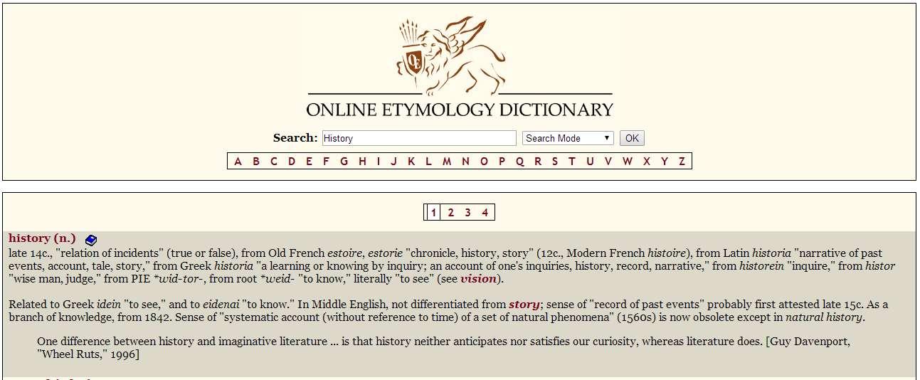 Ετυμολογικό Λεξικό - Online ETYMOLOGY DICTIONARY