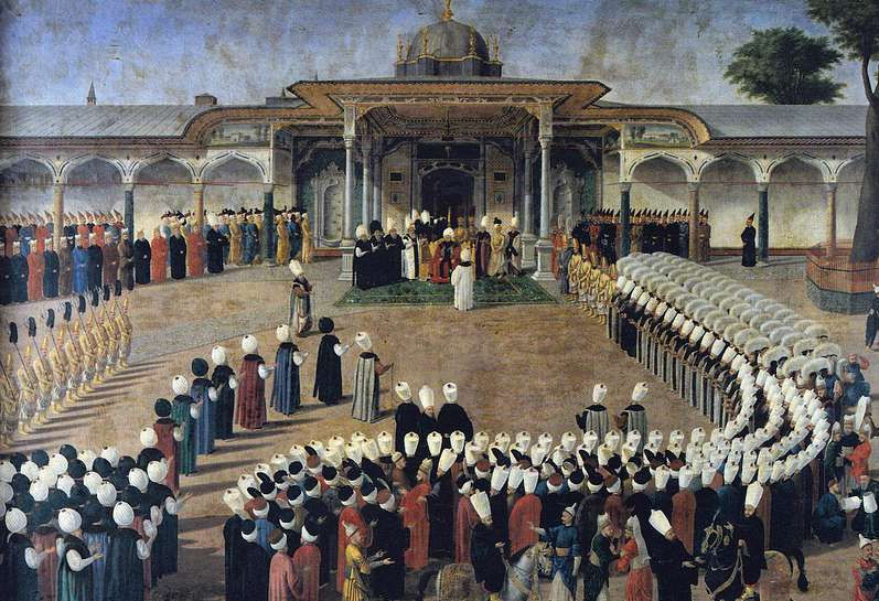 Selim III receiving dignitaries during an audience at the Gate of Felicity, Topkapı Palace
