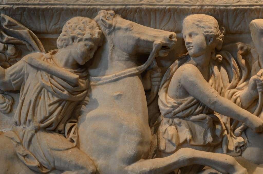 Μαρμάρινη ρωμαϊκή σαρκοφάγος, 3ος αι. μ.Χ. (λεπτομέρεια). Αρχαιολογικό Μουσείο Θεσσαλονίκης