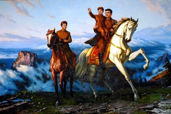 Ο Κιμ Γιονγκ Ιλ με τους γονείς του στο βουνό Παέκτου