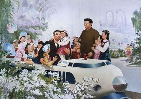 Οι Κιμ Ιλ Σουνγκ και Κιμ Γιονγκ Ιλ σε αφίσα στην Πιονγιάνγκ το 2010