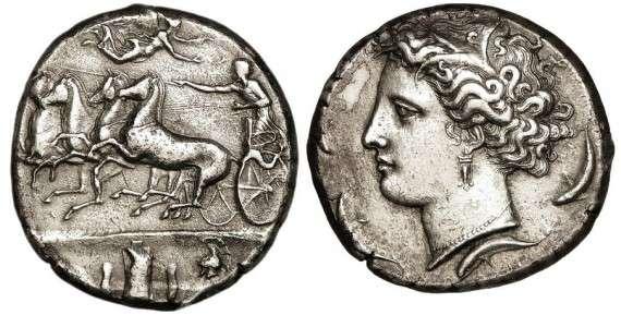 Αρχαίο τετράδραχμο από τις Συρακούσες της Σικελίας, 405 π.Χ.